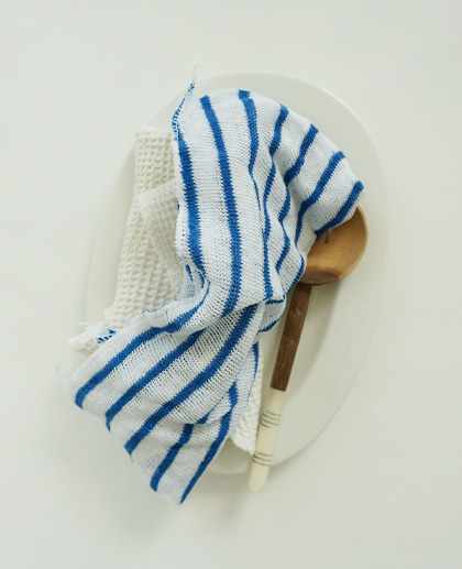 (UK) Cotton Striped Dishcloth (blue)